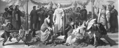 Ein Künstlerfest, wobei das Standbild König Ludwigs I. bekränzt wird