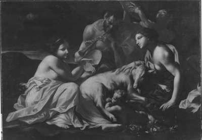 Jupiter als Kind, von der Ziege Amalthea genährt