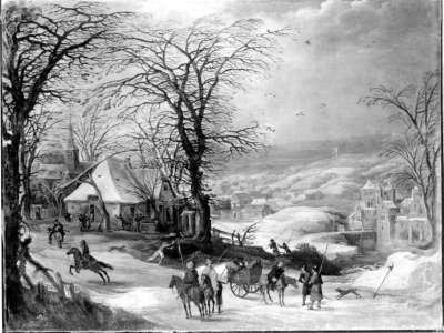 Plünderung eines winterlichen Dorfes