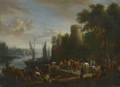 Flussmündung mit Anlegestelle und Turm