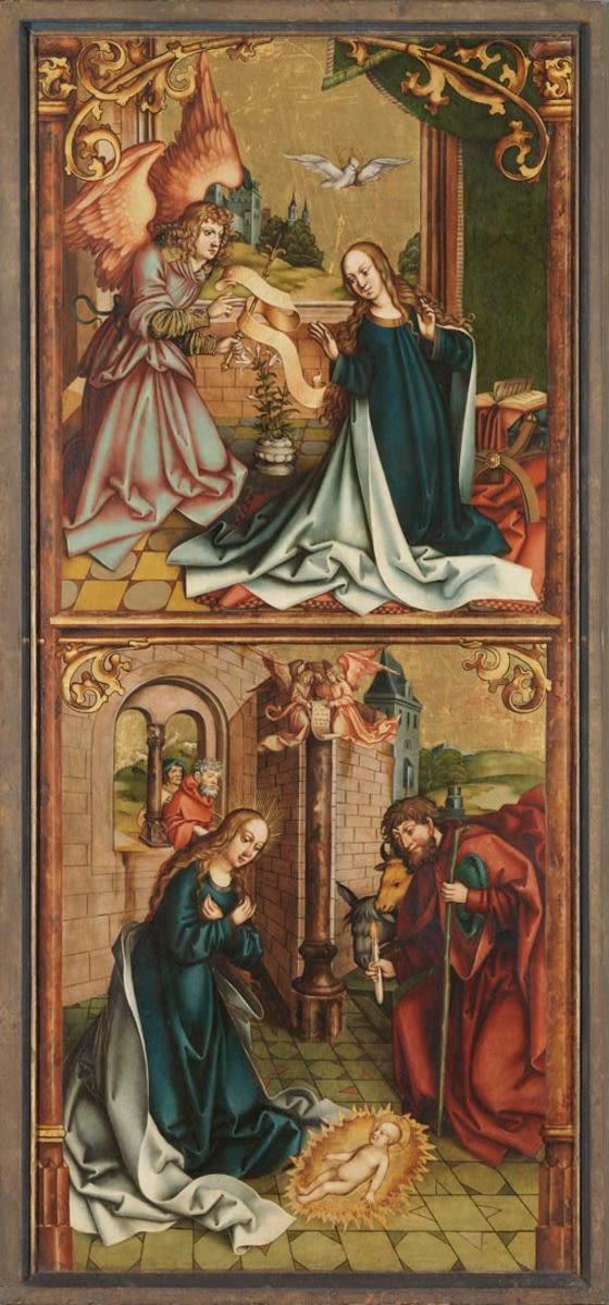 Verkündigung an Maria und Geburt Christi Rückseite: Christus am Ölberg (linke Hälfte)