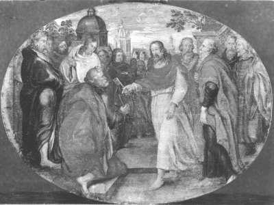 Christus überreicht Petrus die Schlüssel