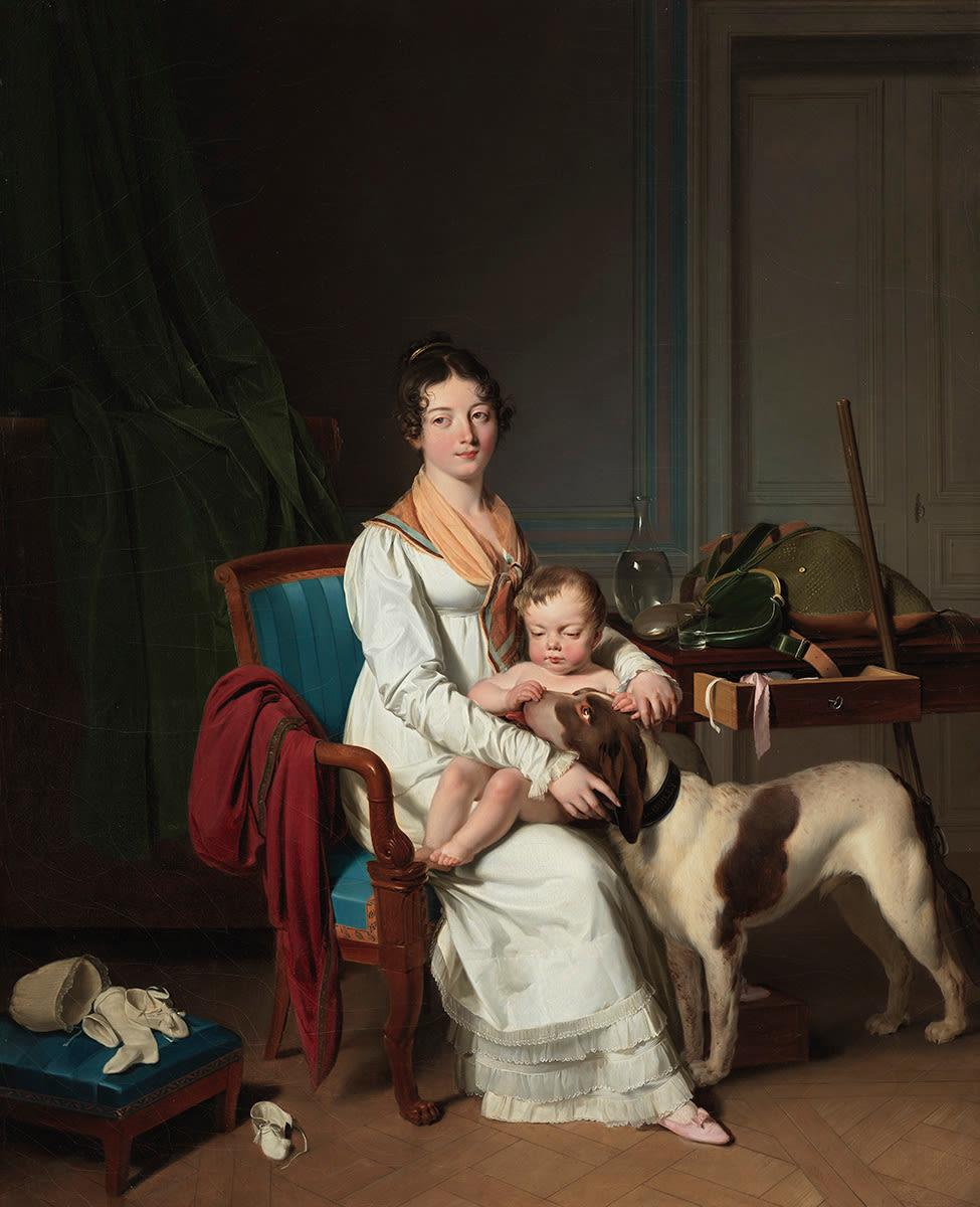 Interieur mit Mutter und Kind