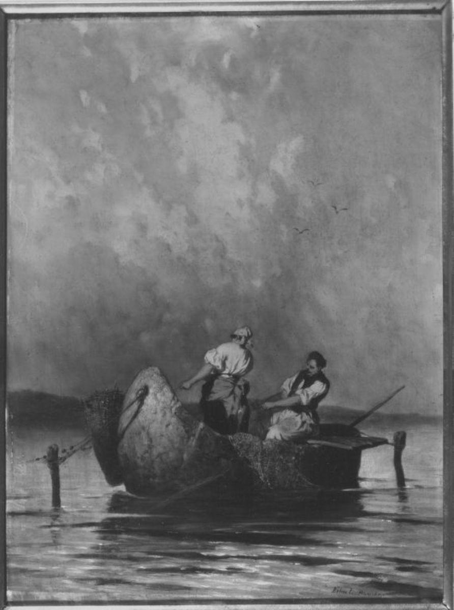Ungarische Fischer im Boot