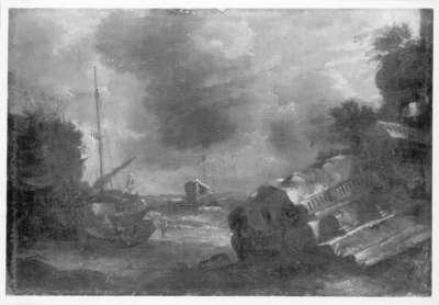 Seestück mit bedrohtem Schiff