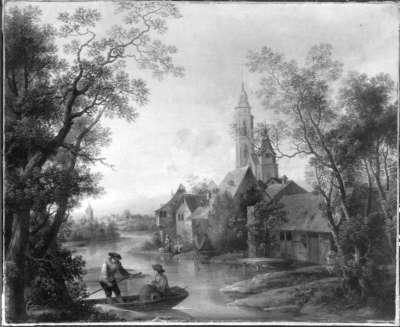 Dorf mit Fähre