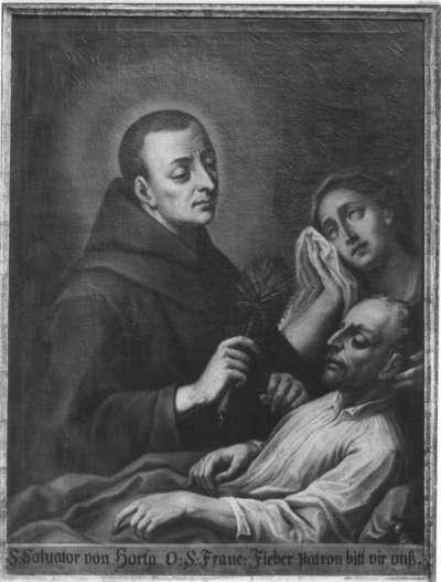 Der hl. Salvator da Horta mit einem Fieberkranken