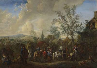 Lagerszene vor einem Dorf