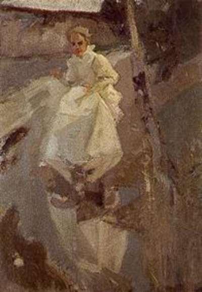 Mädchen in weißem Kleid