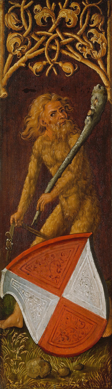 """Bildnistriptychon des Oswolt Krel, rechter Flügel: """"Wilder Mann"""" mit dem Wappen der Agathe von Esendorf"""