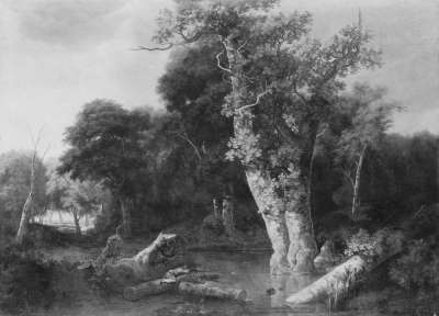 Waldlandschaft mit Jäger
