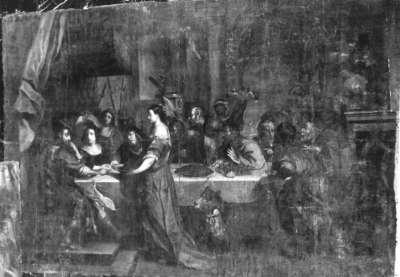 Herodias bringt das Haupt Johannes des Täufers zur Tafel