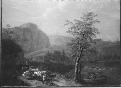 Gebirgslandschaft mit Vieh und Hirten