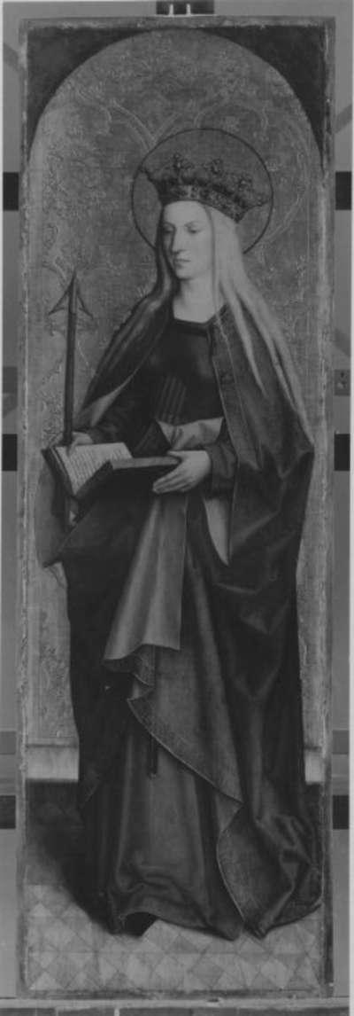Flügel eines Altares: Die hl. Ursula Rückseite mit hl. Brigitta abgesägt (Inv.-Nr. 1207)