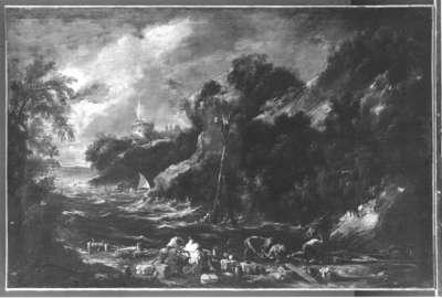 Felsige Meeresbucht mit Mönchen und Schiffern