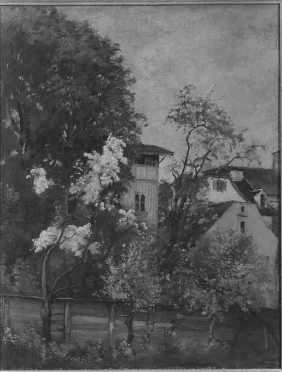 Blütenbäumchen vor Vorstadthäusern