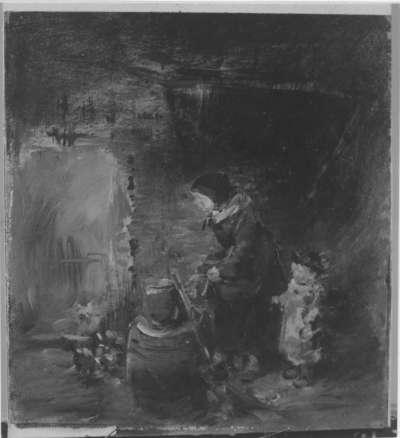 Frau und Kind in der Scheune