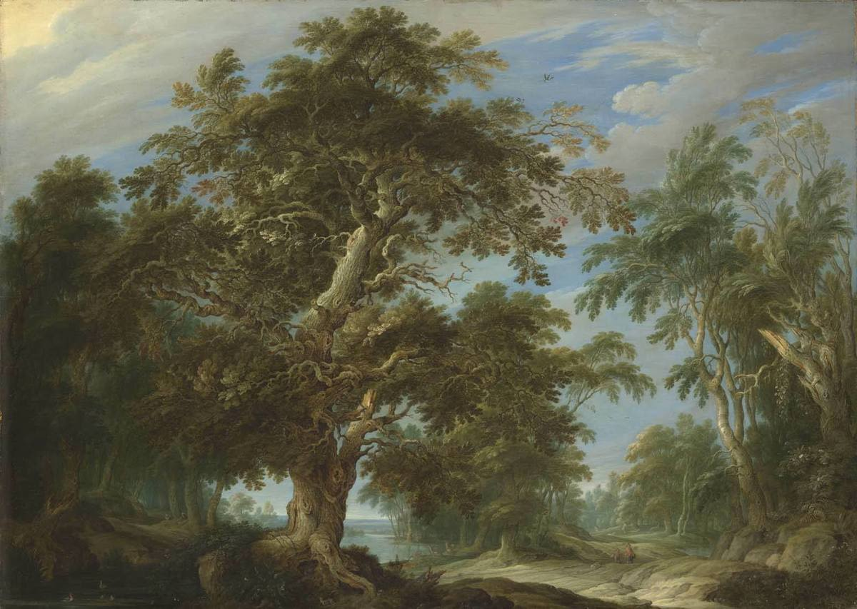 Eichenwald mit Jagdstaffage