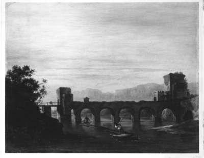 Flusslandschaft mit Bogenbrücke
