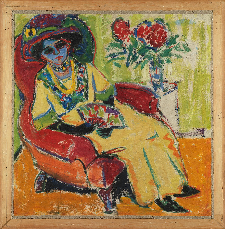 Bildnis Dodo (Sitzende Dame) Rückseite: Maskenball (Masken auf der Straße)