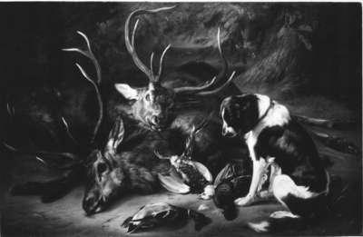Jagdstillleben mit toten Hirschen und Vögeln