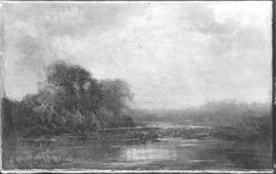 Landschaft mit Kühen am Wasser