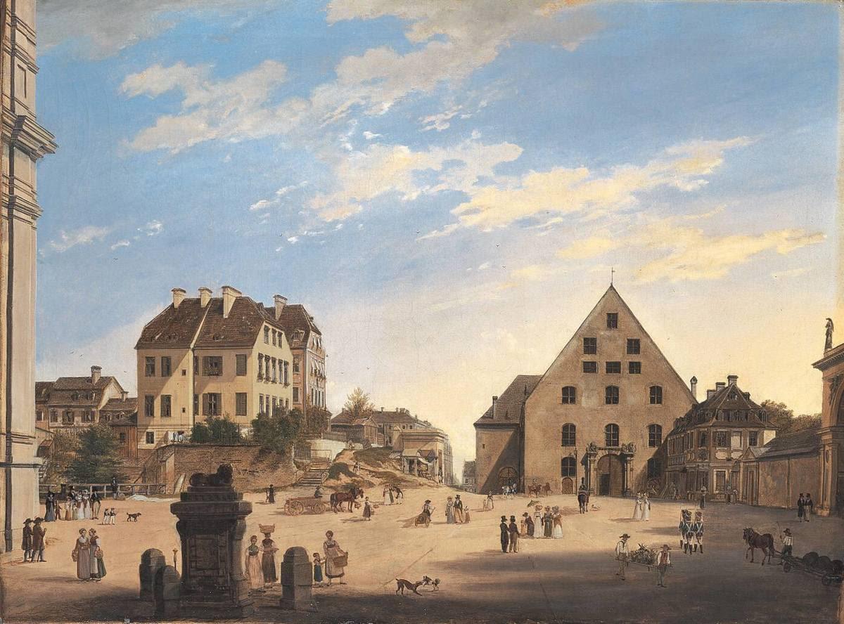 Die Alte Reitschule mit dem Café Tambosi im Jahr 1822