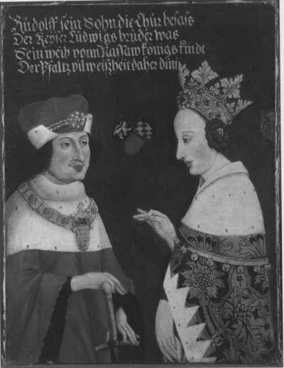 Rudolf I. von der Pfalz, der Stammler, und seine Frau
