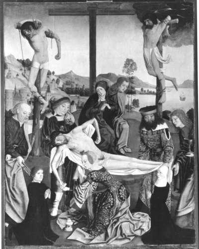 Flügelaltar, Mitteltafel: Grabtragung Christi mit den hll. Petrus, Johannes Ev. und zwei Stiftern