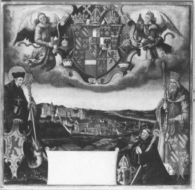 Magnuslegende: Stifterbild zur Folge mit Darstellungen zur Magnuslegende