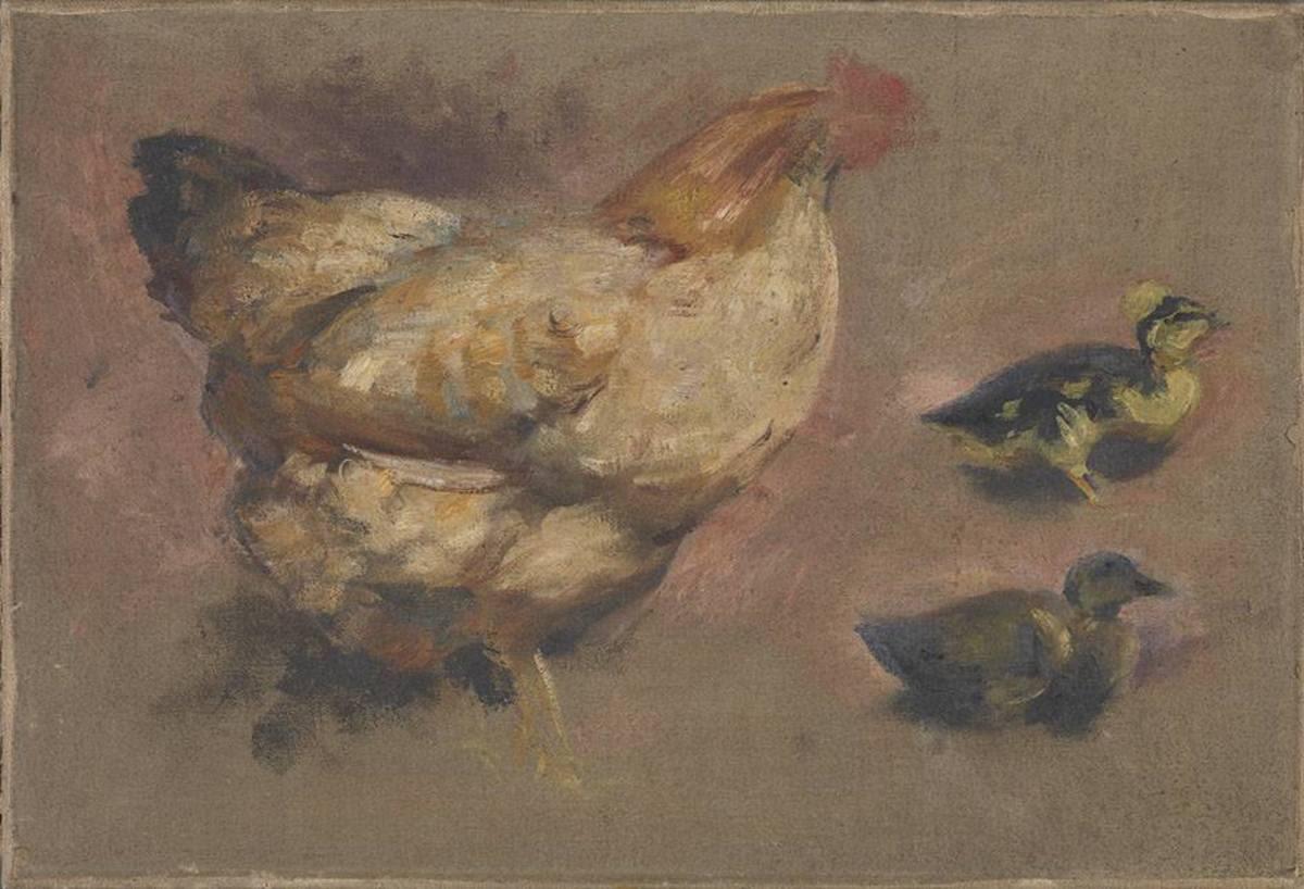 Henne mit zwei Küken (Studie)