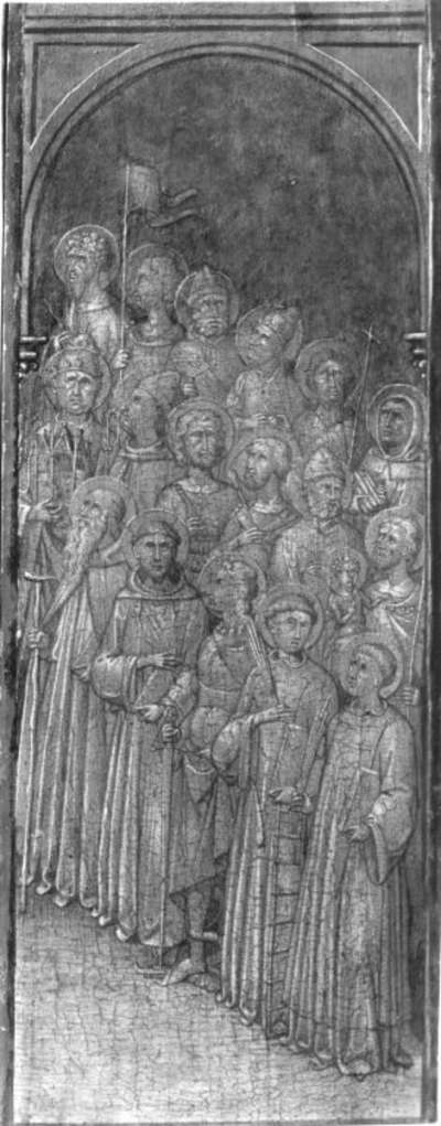 Männliche Heilige (3 Reihen) oben: Maria der Verkündigung; rechter Flügel
