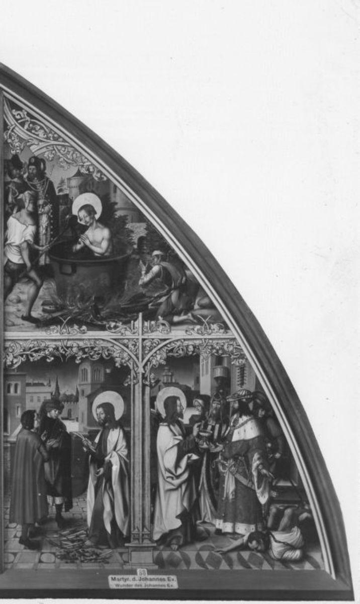 Basilika San Giovanni in Laterano, rechte Tafel: Szenen aus dem Leben des hl. Johannes d. Ev.