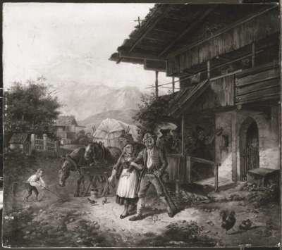 Bauernpaar vor der Schänke