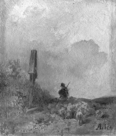 Schäfer vor einem Feldkreuz