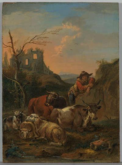 Ruhendes Vieh mit Hirt