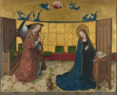 Marienleben: Verkündigung Mariens  Rückseite: untere Hälfte einer Kreuzigung Christi