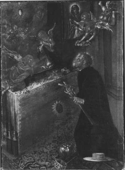 Hl. Franz von Borgia verehrt die Eucharistie