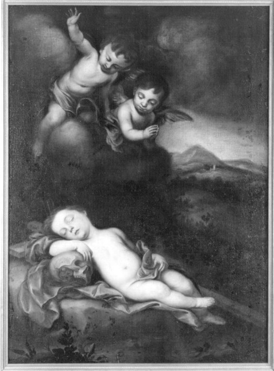Schlafender Jesusknabe mit Engeln