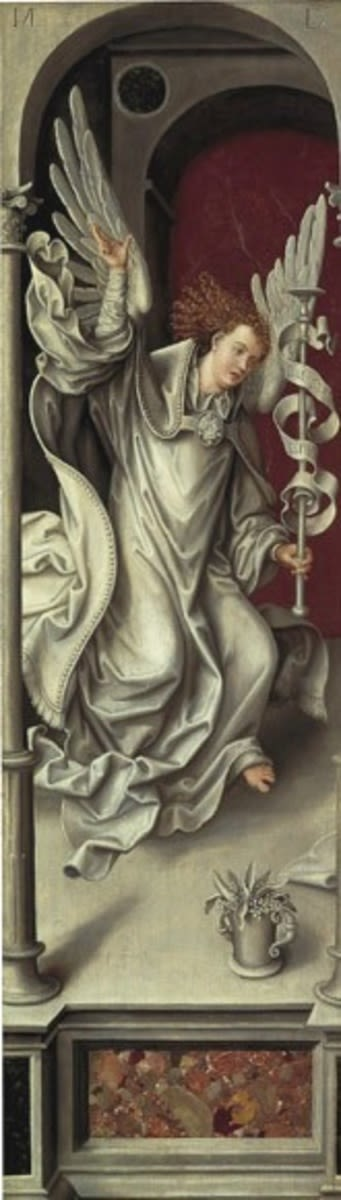 Rehlinger-Altar, linker Flügel, Außenseite: Engel der Verkündigung