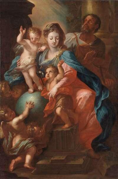 Heilige Familie mit dem Johannesknaben und Engeln