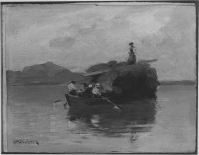 Boot auf dem Wasser mit Heu beladen