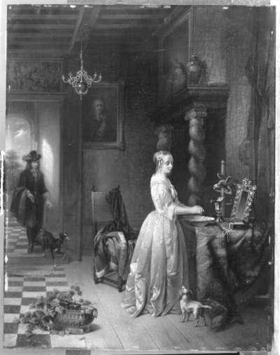 Weiß gekleidetes Mädchen bei der Toilette