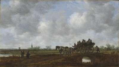 Landschaft mit Pferdewagen auf einer Brücke