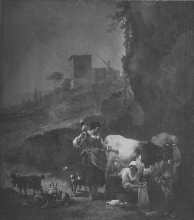 Italienische Abendlandschaft mit Vieh und Hirtinnen