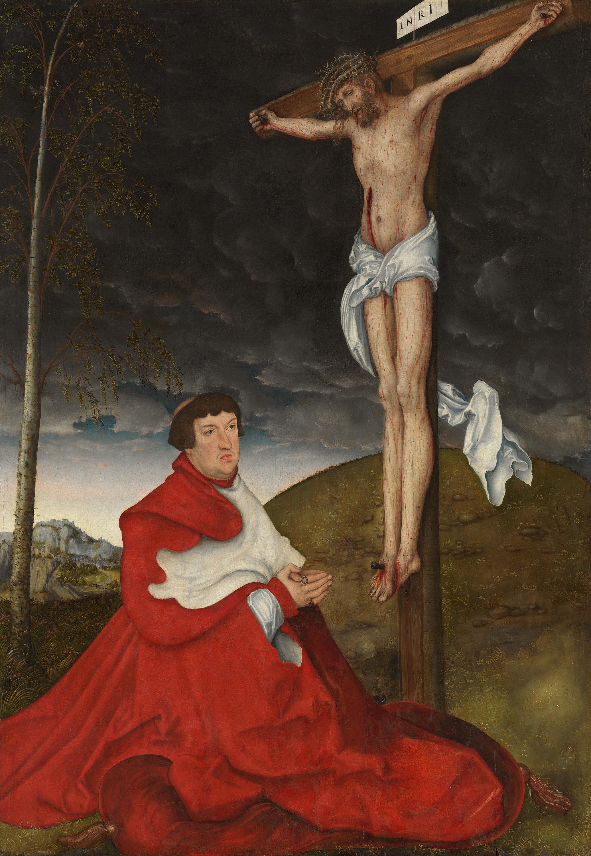 Kardinal Albrecht von Brandenburg vor dem Gekreuzigten