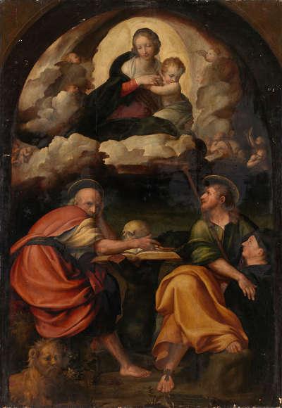 Maria mit Kind in der Glorie, den hll. Hieronymus und Jakobus mit Stifter