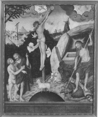 Allegorie auf Gesetz und Gnade: Christus am Kreuz