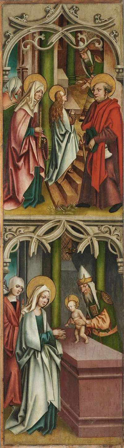 Tempelgang Mariae und Darbringung Jesu Rückseite: Gekrönte Heilige mit Palmzweig