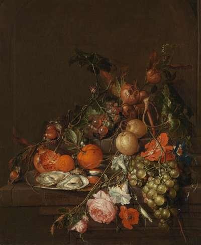 Stillleben mit Früchten und Blumen